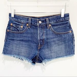 Levi's 501 button fly cut off jean shorts denim 27